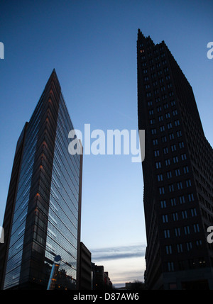 Modern skyscrapers, steel and glass, located in Potsdamer Platz in the place where before there was the Berlin Wall, - Stock Photo