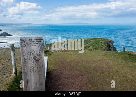 The Causeway Coastal Trail at Port na Spaniagh Near the Giant's Causeway - Stock Photo