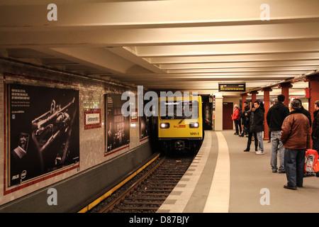 Underground subway line U2 of the Berlin U-Bahn, in the station Alexanderplatz - Stock Photo