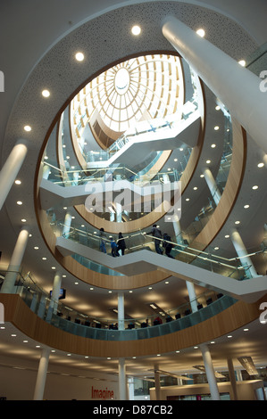 Four-storey central atrium with escalators, stairs and a domed ceiling. The new Central Library opened in Liverpool - Stock Photo