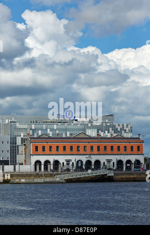 The O2 building at North Wall Quay in Dublin's docklands. The O2 building is built on the site of the former Point - Stock Photo
