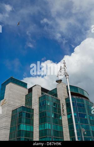 International Financial Services Centre (IFSC)  on Custom House Quay by the River Liffey, Dublin, Ireland - Stock Photo