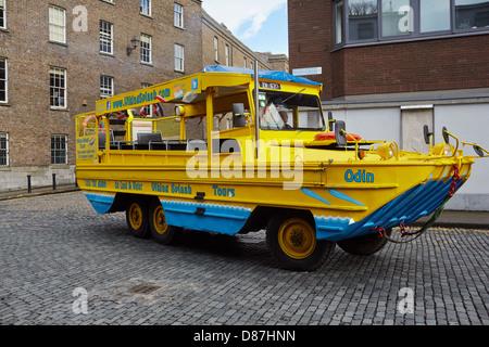 Viking Splash amphibious tour vehicle makes its way through Dublin's backstreets on its way to the river Liffey - Stock Photo