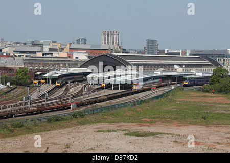 A long distance view of Bristol Temple Meads Railway station showing the west end of the station will all the platform - Stock Photo