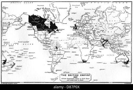 World Map 1837 - Stock Photo