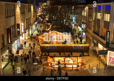 Christmas market scene in Bristol city centre, England, UK - Stock Photo