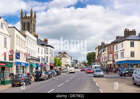 Honiton, Devon, England, UK - the town and main high street - Stock Photo