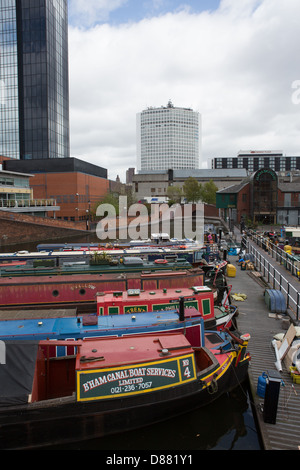 Narrow boats on canal in central Birmingham - Stock Photo
