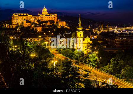 Buda Castle in Budapest Hungary, view from Gellert hill - Stock Photo