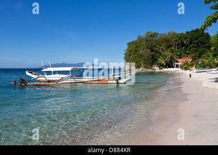 Scenery on the Big La Laguna Beach on Mindoro Island, Philippines - Stock Photo