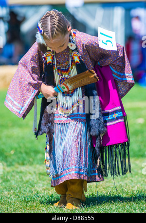 An unidentified Native Indian girl  takes part at the Mariposa 20th annual Pow Wow in California - Stock Photo