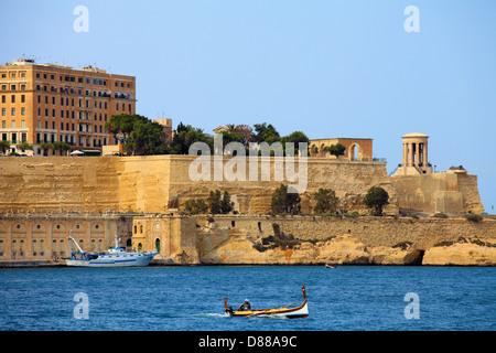 Malta, Valletta, Grand Harbour, city walls, - Stock Photo