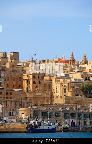 Malta, Valletta, Grand Harbour, skyline, - Stock Photo