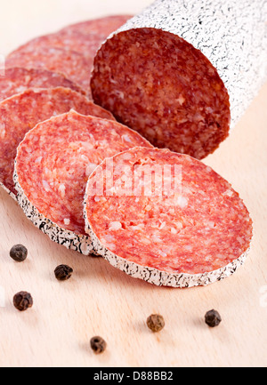 Selective focus on the front slice of winter sausage - Stock Photo