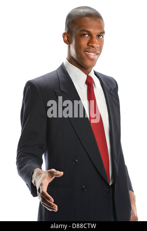 Young African American businessman offering handshake isolated over white background - Stock Photo