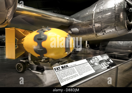 The first Atomic bomb,Fat Man,recreation at the USAF museum, Dayton Ohio - Stock Photo