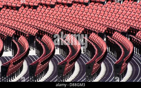 Rows of stadium seating seen in the Austin 360 Amphitheater at Circuit of the Americas, Austin, Texas, USA - Stock Photo