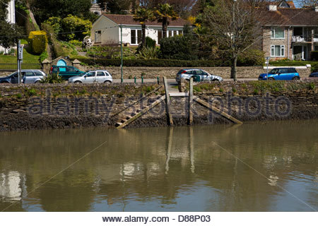 View of the reflections in the water of Kingsbridge Estuary, Devon - Stock Photo