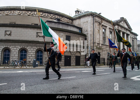 Dissident group Republican Sinn Fein march to the GPO in Dublin to commemorate the Easter Rising of 1916 - Stock Photo