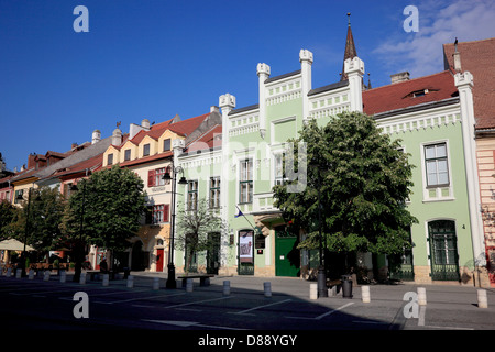 Houses on 'the small ring' in Piata Mica, Old Town, Sibiu, Romania - Stock Photo
