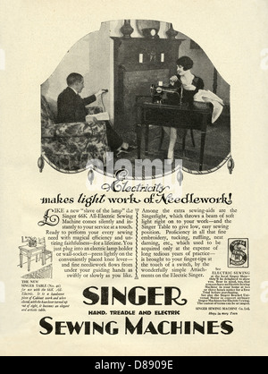 1928 advert for Singer electric sewing machines - with a photograph of a woman sewing on an electric machine in - Stock Photo