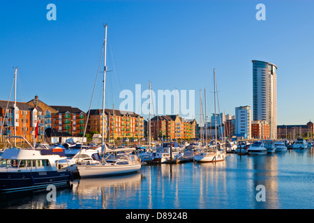 Swansea Maritime Quarter Swansea Marina Swansea Wales at twilight - Stock Photo