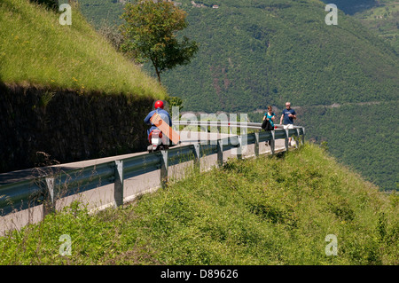 country lane on monte isola, lake iseo, lombardy, italy - Stock Photo