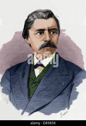 David Edward Hughes (1831 – 1900). Was a Welsh-American scientist and musician. Engraving by A. Carretero. Colored. - Stock Photo