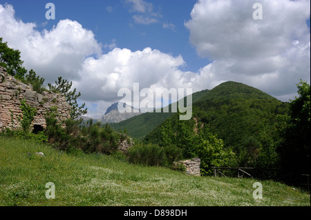 italy, le marche, sibillini national park, valnerina, visso - Stock Photo