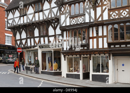 Tudor style half timbered buildings, Ludlow, Shropshire, England, UK. - Stock Photo