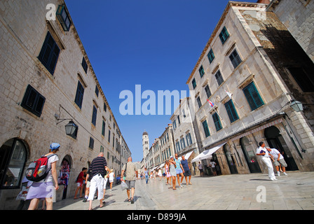DUBROVNIK, CROATIA. A view along Stradun (Placa) in the medieval walled town. 2010.