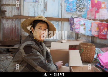 woman selling at the Aungban market - Stock Photo