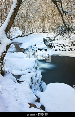 Neddfechan river on a cold winter's day Brecon Beacons National Park Powys Wales - Stock Photo