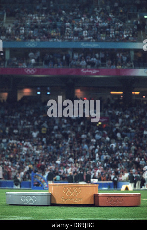 Olympic podium at the track and field venue at the 2000 Olympic Summer Games. Sydney, Australia. - Stock Photo