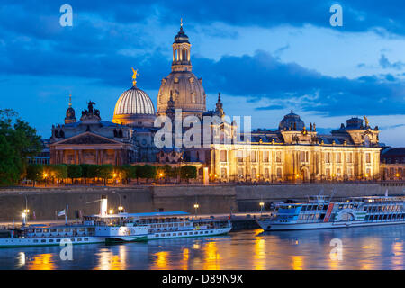 Germany/Saxony/Dresden, skyline of Dresden in the evening, 12 May 2013 - Stock Photo