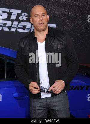 Los Angeles, California, USA. 21st May 2013. Vin Diesel arrives for the premiere of the film 'Fast & Furious 6' - Stock Photo