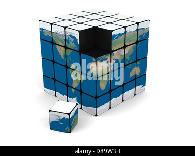Concept of planet Earth made of cubes, isolated on white background. Elements of this image furnished by NASA. - Stock Photo