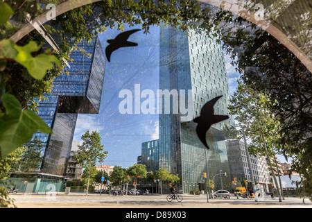 Buildings in the neighborhood Diagonal Mar in Barcelona - Stock Photo