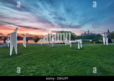 Ottawa skyline at sunset viewed from the Canadian Museum of Civilization - Stock Photo