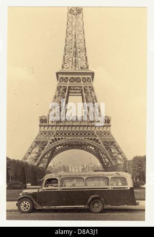 Sepia photograph of the Eiffel Tower, Paris, 1930's - Stock Photo