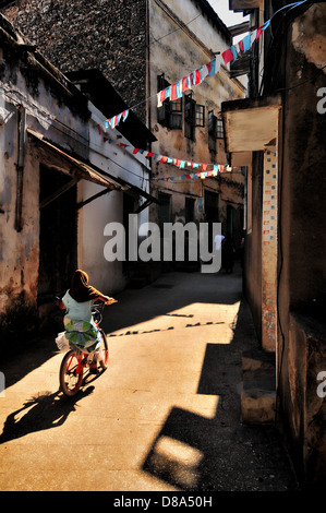 A young muslim girl wearing a Hijab riding her pink bicycle in the alleys of stonecity in Zanzibar - Stock Photo