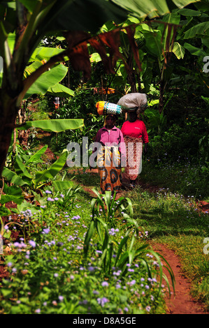 Two Woman Carrying sacks on their head while going to the market to sell goods. Marangu village, Tanzania. - Stock Photo