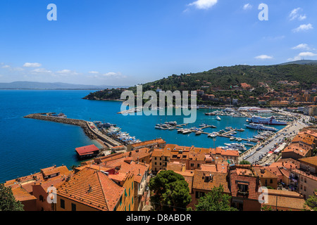 View of the sea front of Porto Santo Stefano, Monte Argentario, Maremma, Grosseto Province, Tuscany, Italy - Stock Photo