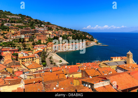 View of the sea front of Porto Santo Stefano, Monte Argentario, Maremma, Grosseto Province, Tuscany, Italy - Stock Photo