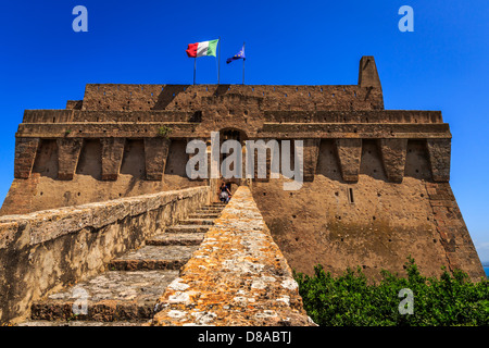 The Spanish Fort in Porto Santo Stefano, Monte Argentario, Maremma, Grosseto Province, Tuscany, Italy - Stock Photo