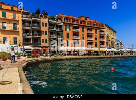 Harbor front in Porto Santo Stefano, Monte Argentario, Maremma, Grosseto Province, Tuscany, Italy - Stock Photo