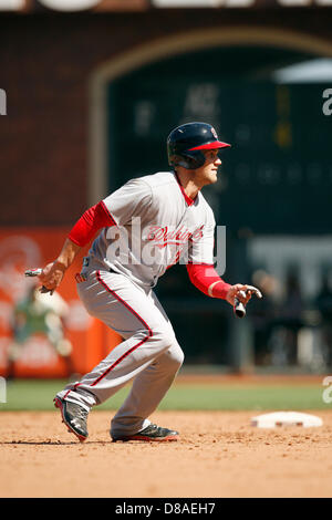 San Francisco, California, USA. 22nd May 2013. Washington outfielder Bryce Harper during action in a Major League - Stock Photo