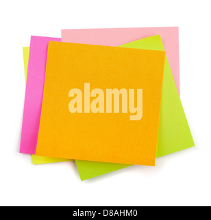 Stack of colorful post-it sticky notes isolated on white - Stock Photo