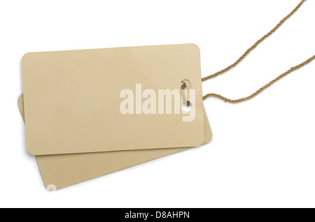 Two cardboard labels tied with brown string isolated on white - Stock Photo
