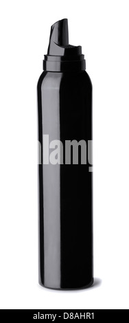 Black bottle of hair styling mousse isolated on white - Stock Photo